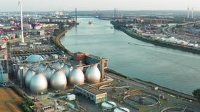 Aerial panorama industrial district of Hamburg Germany stock video