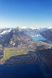 Aerial panorama of Interlaken and Brienz and Thun lakes Royalty Free Stock Images