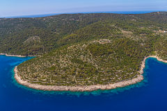 Adriatic landscape - Island Losinj. Aerial panorama of island Losinj in Zadar area, Croatia Royalty Free Stock Photos