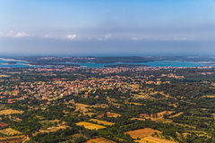 Istria. Aerial panorama Istrian landscape, Croatia. Towns Liznjan and Medulin in the distance stock image
