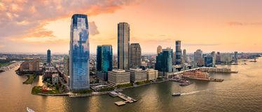 Aerial panorama of Jersey City royalty free stock images