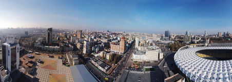 Aerial panorama of Kiev city Royalty Free Stock Photo