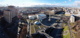 Aerial panorama of Kiev, Maidan Royalty Free Stock Photo