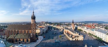 Krakow, Poland. Old city wide panorama with all main monuments. Aerial panorama of Krakow old city, Poland. Main Market Square Rynek, old cloth hall Sukiennice Royalty Free Stock Images