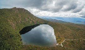 Aerial panorama of Lake Esperance, Hartz Mountains National Park Royalty Free Stock Photography