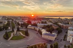 Aerial panorama of city center at sunset time Royalty Free Stock Images