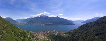 Aerial panorama landscape on Como lake Stock Image