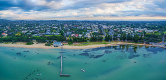 Aerial panorama landscape of Sorrento Long Pier, The Baths resta. Urant and beautiful coastline. Mornington Peninsula, Melbourne, Australia Royalty Free Stock Photos