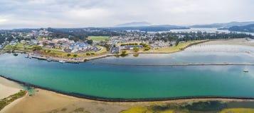 Aerial panorama of luxurious homes at Narooma, NSW, Australia. Aerial panorama of luxurious homes at Narooma, NSW, Australia royalty free stock photo