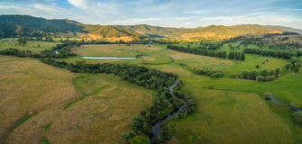 Aerial panorama of meadows and pastures of Mitta Mitta Valley ne Stock Photography