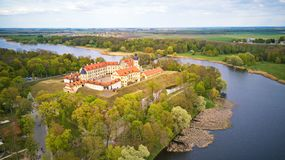 Aerial panorama of Medieval castle in Nesvizh. Belarus. Aerial panorama of Medieval castle in Nesvizh. Niasvizh ancient town in spring. Minsk Region, Belarus stock image