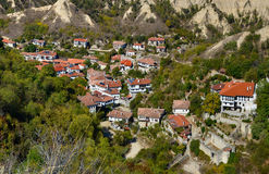 Aerial panorama of Melnik, Bulgaria. Melnik - popular travel destination and smallest town in Bulgaria with traditional historic buildings Stock Images