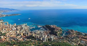 Aerial panorama of Monaco. Made from The Dog Head Cliff La Tete De Chien stock video