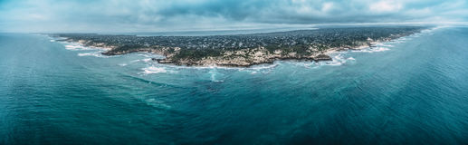Aerial panorama of Mornington Peninsula coastline in stormy weat Stock Images
