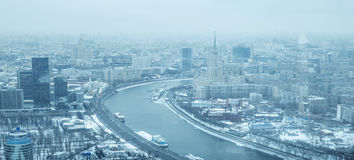 Aerial panorama of Moscow city in winter, Russia Royalty Free Stock Photos