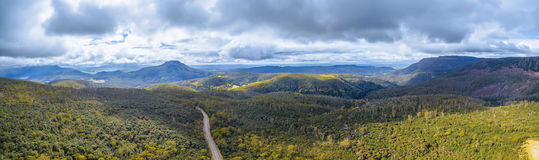 Aerial panorama of mountains and forest above Highland Lakes Roa. D, Liffey, Tasmania, Australia Royalty Free Stock Photo