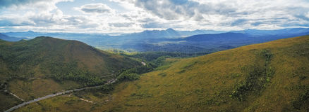 Aerial panorama of mountains and green hills along Gordon River Stock Image