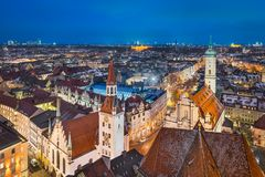 Aerial panorama of Munich city center royalty free stock photography