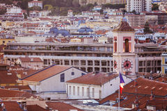 Aerial panorama of NIce at sunset Royalty Free Stock Photos