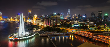 Aerial panorama at night of the Bund in Shanghai Royalty Free Stock Image