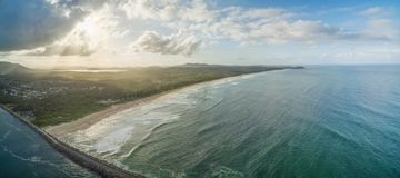 Aerial panorama of North Haven Beach. Royalty Free Stock Photo
