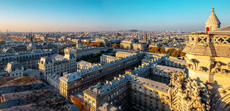 Aerial panorama from Notre Dame de Paris,France in autumn. Stock Photos