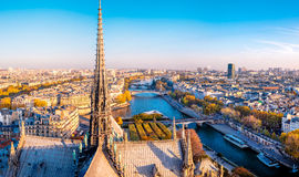 Aerial panorama from Notre Dame de Paris,France, with Seine river. Stock Photo