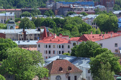 Aerial panorama of old city Royalty Free Stock Image
