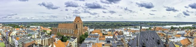 Aerial panorama of Old Town with Cathedral - Torun, Poland. Aerial panorama of Old Town with Cathedral in Torun, Poland royalty free stock image