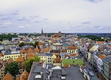 Aerial panorama of Old Town with Cathedral - Torun, Poland royalty free stock photo