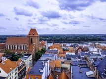 Aerial panorama of Old Town with Cathedral - Torun, Poland. Aerial panorama of Old Town with Cathedral in Torun, Poland royalty free stock photography