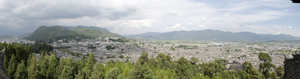Aerial Panorama of an Old Town in Lijiang, China Stock Images