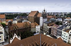 Aerial panorama of Old Town with St. Mary`s Church and Artus Court. In Torun, Poland royalty free stock images