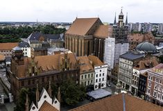 Aerial panorama of Old Town with St. Mary`s Church and Artus Court. In Torun, Poland stock images