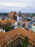 Aerial panorama of Old Town with St. Mary`s Church and Artus Court. In Torun, Poland stock image