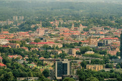 Aerial panorama of Old Town in Vilnius Stock Photography