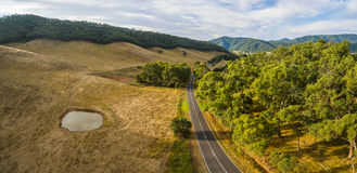Aerial panorama of Omeo Highway and Mitta Mitta Valley, Australi Stock Images