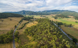 Aerial panorama of Omeo Highway and Mitta Mitta Valley, Australi Stock Photography