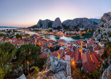Aerial Panorama of Omis and Cetina River Gorge in the Evening Royalty Free Stock Images