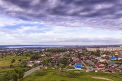 Aerial panorama of one-storied district of city outskirts Royalty Free Stock Photos