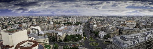 Aerial panorama over the center of Bucharest. Stock Photo