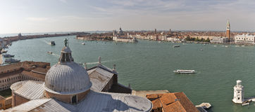 Aerial panorama over Church of San Giorgio Maggiore. Venice, Italy. Royalty Free Stock Photo