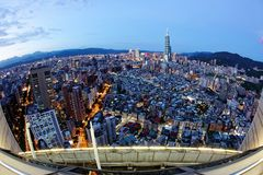 Aerial panorama over Taipei, the capital city of Taiwan, with the landmark 101 Tower among skyscrapers stock photo