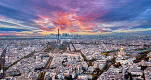 Aerial panorama of Paris, France with Eiffel Tower. Stock Photo