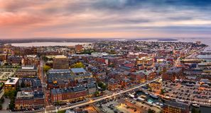 Aerial panorama of Portland, ME stock images
