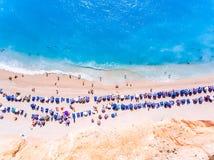 Aerial panorama of Porto Katsiki Beach one of the main tourist a Royalty Free Stock Photo