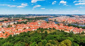 Aerial panorama of Prague, Czech Republic Stock Photography