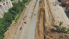 Aerial panorama of road reconstruction, sunny summer day. HD stock video