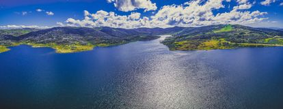Aerial panorama of Rocky Valley water storage on bright summer day. Victoria, Australia. Aerial panorama of Rocky Valley water storage on bright summer day Royalty Free Stock Images