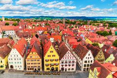 Aerial panorama of Rothenburg ob der Tauber, Germany stock photos